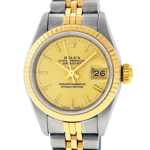 Rolex Ladies 2 Tone Champagne Index Datejust Wristwatch