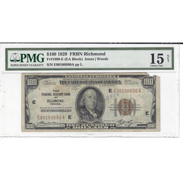 1929 $100 Federal Reserve Bank Note Richmond PMG Choice Fine 15 Net