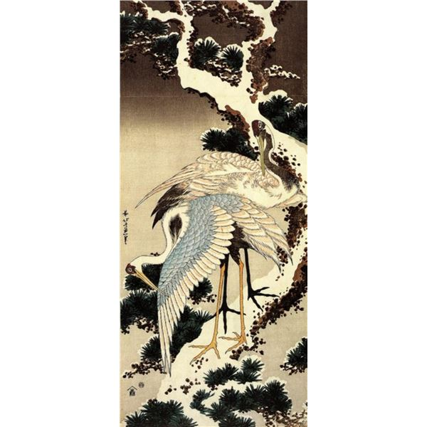 Hokusai - Two Cranes on a Pine Covered with Snow