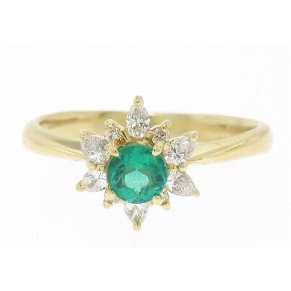 Quality 18k Solid Gold 1.06 ctw Emerald RARE Pear Diamond Halo Cocktail Ring