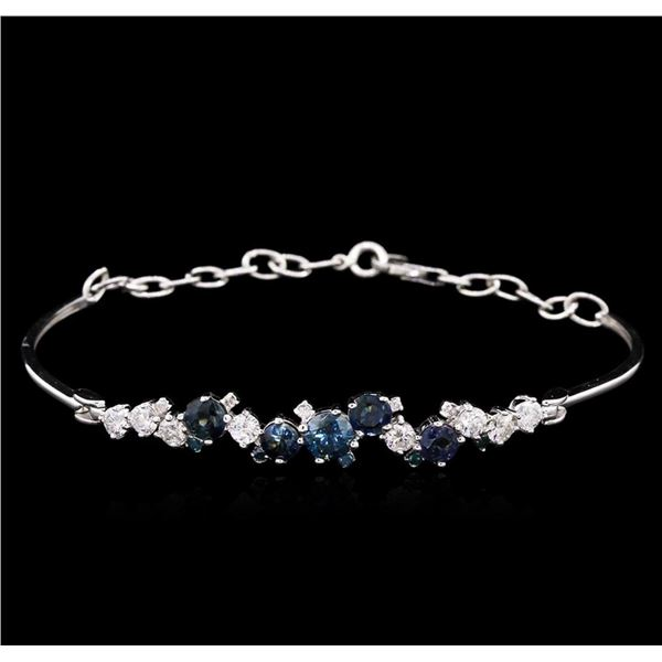 1.48 ctw Blue Sapphire and Diamond Bracelet - 14KT White Gold