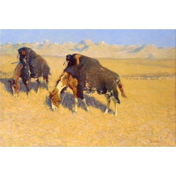 Frederic Sackrider Remington  - Indians Simulating Buffalo