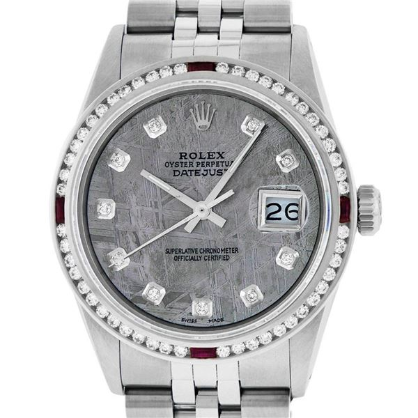 Rolex Mens SS Meteorite Diamond & Ruby Channel Set Diamond Datejust Wristwatch 3