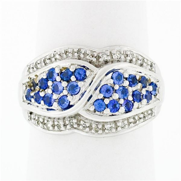14k White Gold .85 ctw Round Brilliant Tanzanite & Diamond Wide Cluster Band Rin