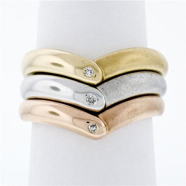14K Tri Color Gold Burnish Diamond Polished & Sandblast 3 Stackable V Band Rings