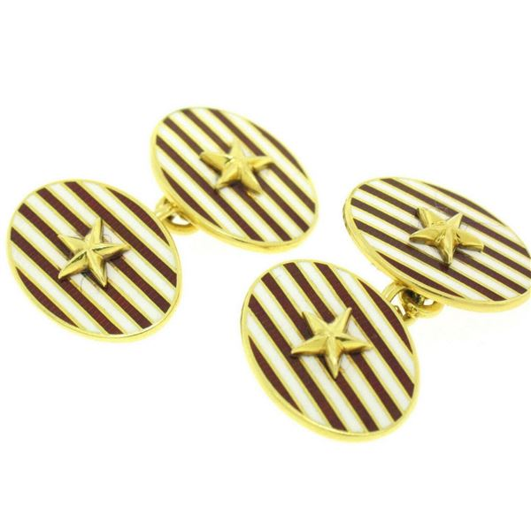 Estate Asprey 18k Solid Gold Collectible Red White Enamel Stripe Star Cufflinks
