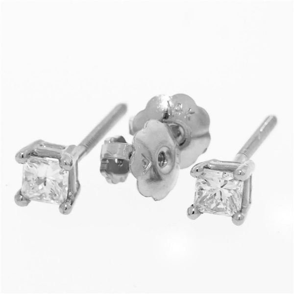 New 14K White Gold Princess Cut Solitaire Stud Earrings