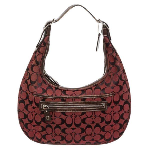 Coach Burgundy Monogram Canvas Brown Leather Shoulder Bag