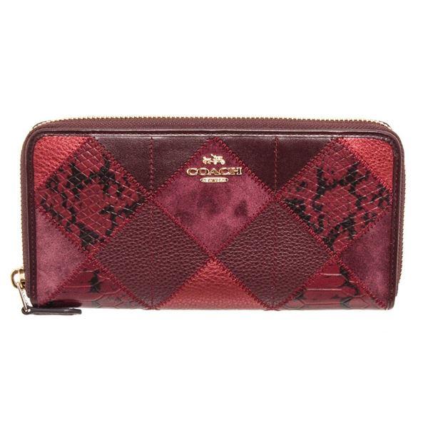 Coach Burgundy Metallic Leather Patchwork Zippy Wallet
