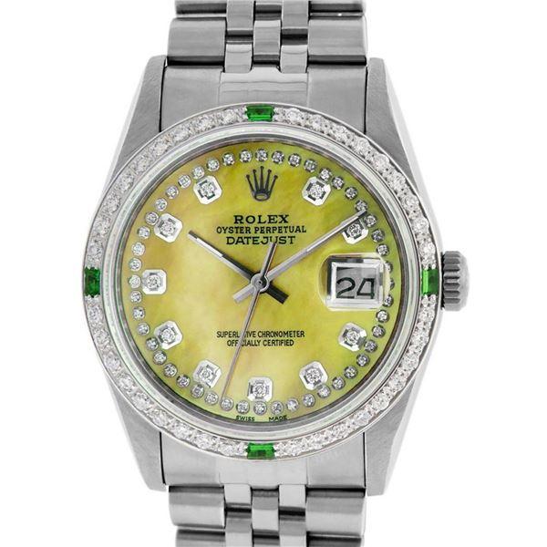 Rolex Mens Stainless Steel Yellow MOP & Emerald Datejust Wristwatch 36MM