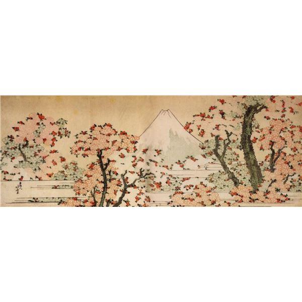 Hokusai - Mount Fuji Behind Cherry Trees and Flowers