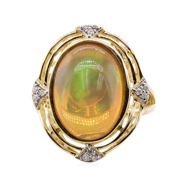 4.73 ctw Opal and Diamond Ring - 14KT Yellow Gold