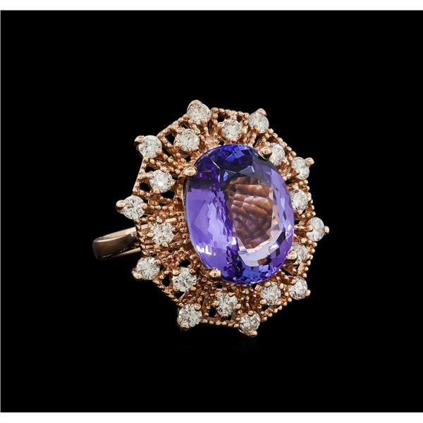 10.16 ctw Tanzanite and Diamond Ring - 14KT Rose Gold