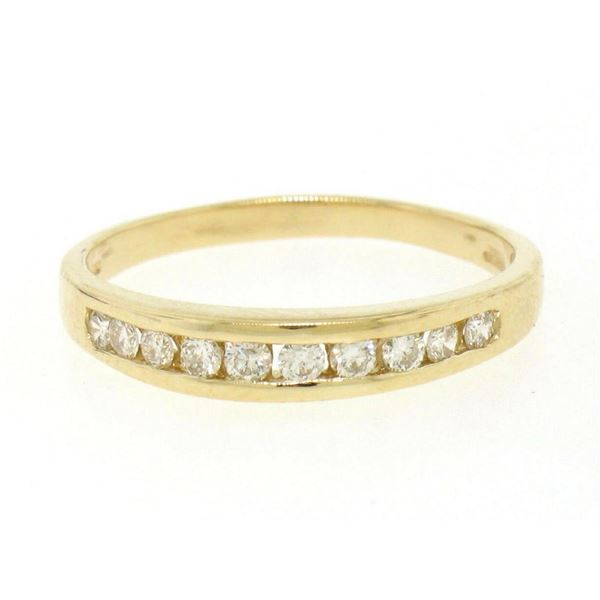14k Solid Gold 0.28 ctw 10 Round Brilliant Cut Channel Diamond Ladies Band Ring