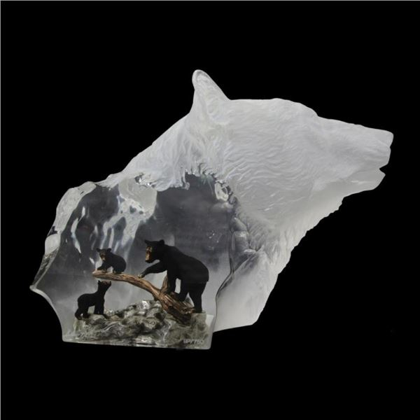 "Kitty Cantrell, ""Black Bear Clan"" Limited Edition Mixed Media Lucite Sculpture w"