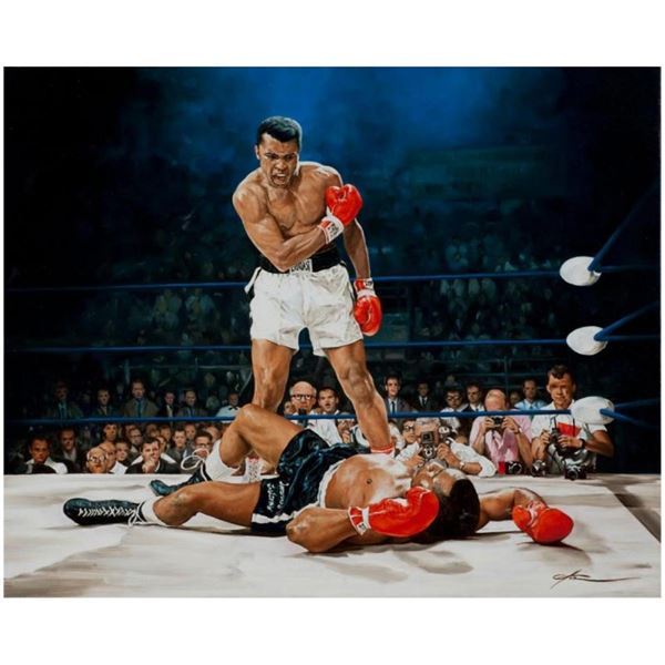 "Yevgeniy Korol, ""Ali Vs. Liston"" Hand Signed Mixed Media on Canvas with Letter o"