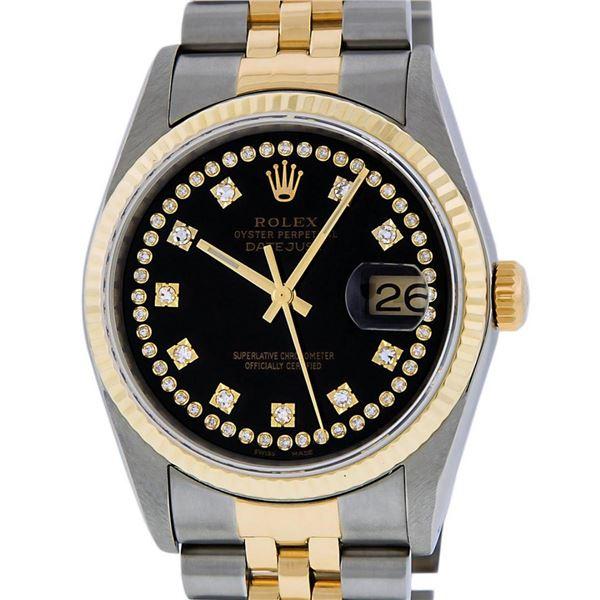 Rolex Mens 2 Tone Black VS Diamond 36MM Oyster Perpetual Datejust Wristwatch