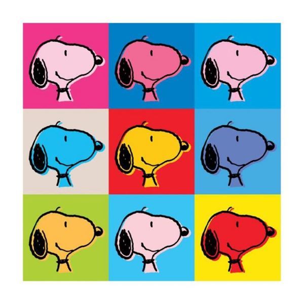 """Peanuts, """"Snoopy Warhol Face"""" Hand Numbered Canvas (40""""x40"""") Limited Edition Fin"""