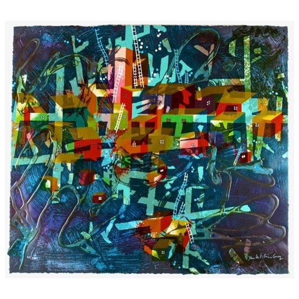 """Yankel Ginzburg, """"City In Blue"""" Hand Signed Limited Edition Serigraph with Lette"""