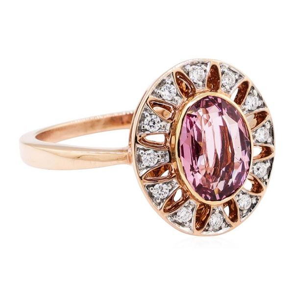 2.20 ctw Oval Mixed Pink Spinel And Round Brilliant Cut Diamond Ring - 18KT Rose