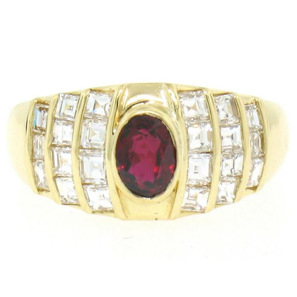 Estate 18kt Yellow Gold 1.75 ctw Ruby and Diamond Wide Band Ring