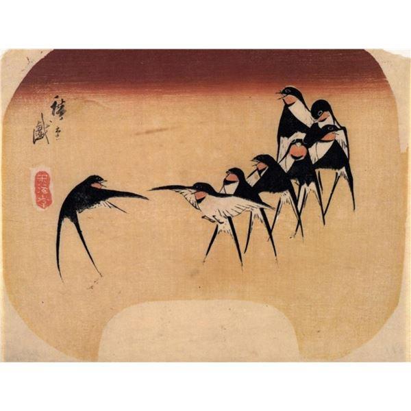 Hiroshige Dancing Swallows