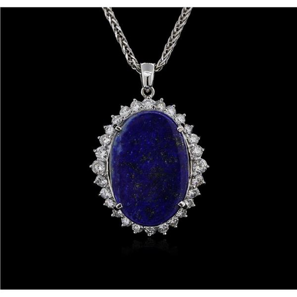 14KT White Gold 12.29 ctw Lapis Lazuli and Diamond Pendant With Chain