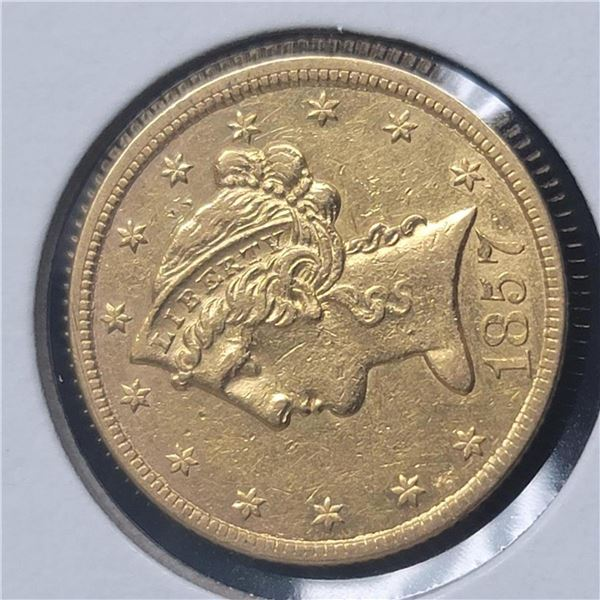 1857 No Motto $5 Liberty Head Half Eagle AU