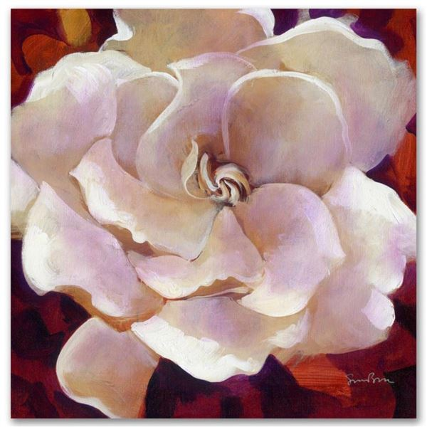 """Gardenia"" Limited Edition Giclee on Canvas by Simon Bull, Numbered and Signed."