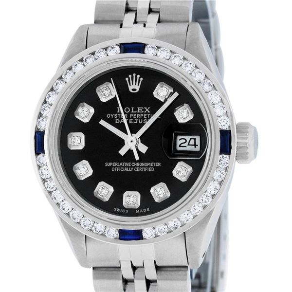 Rolex Ladies Stainless Steel Black Diamond 1 ctw Channel Sapphire Datejust Wrist