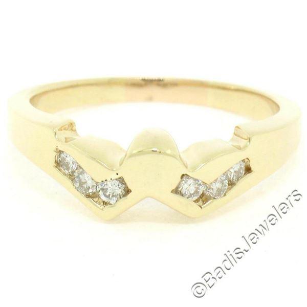 Unique 14K Yellow Gold 0.24 ctw Round Brilliant Cut Diamond V Channel Band Ring