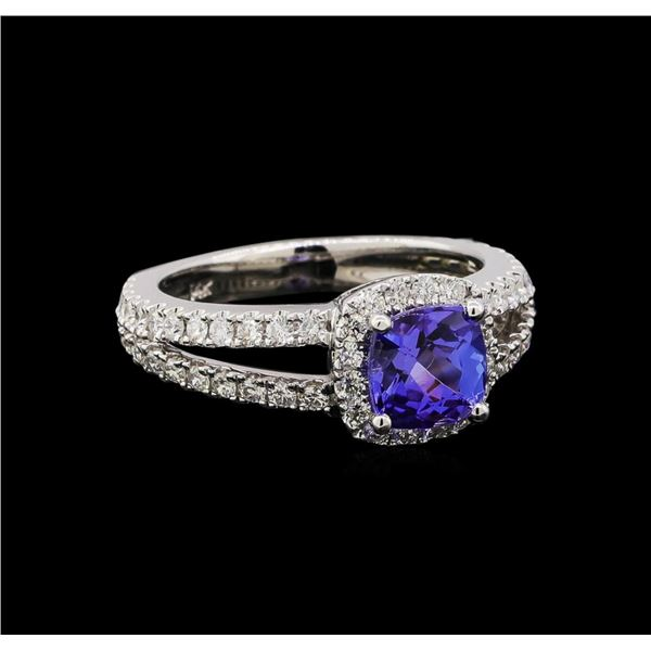 14KT White Gold 1.34 ctw Tanzanite and Diamond Ring