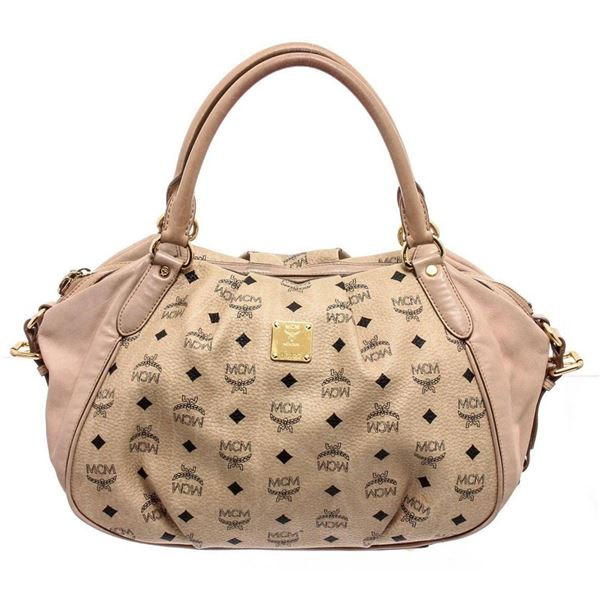 MCM Cream Coated Canvas Visetos Shoulder Bag