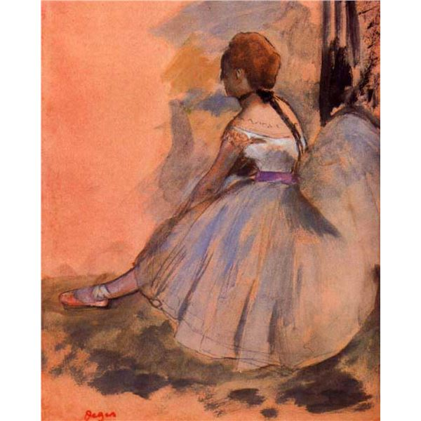 Edgar Degas - Sitting Dancer With Extended Left Leg