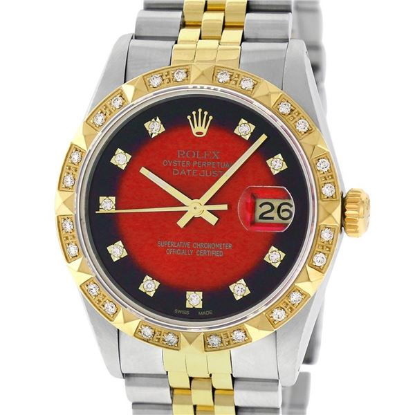 Rolex 2 Tone Red Vignette Pyramid Diamond Oyster Perpertual Datejust 36MM