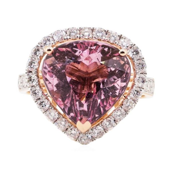 6.61 ctw Morganite and Diamond ring - 14KT Rose Gold