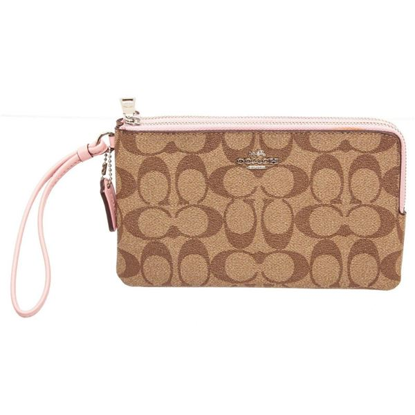 Coach Beige Logo Canvas Double Zip Wristlet