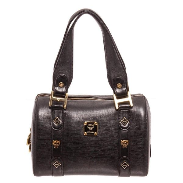 MCM Black Leather Boston Tote Bag