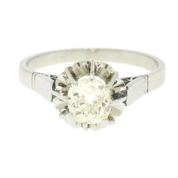 Antique Art Deco Platinum 0.78 ctw Old Mine Cut Diamond Filigree Engagement Ring