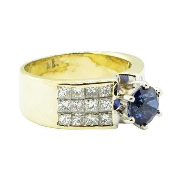 3.45 ctw Round Brilliant Blue Sapphire And Diamond Ring - 18KT Yellow Gold