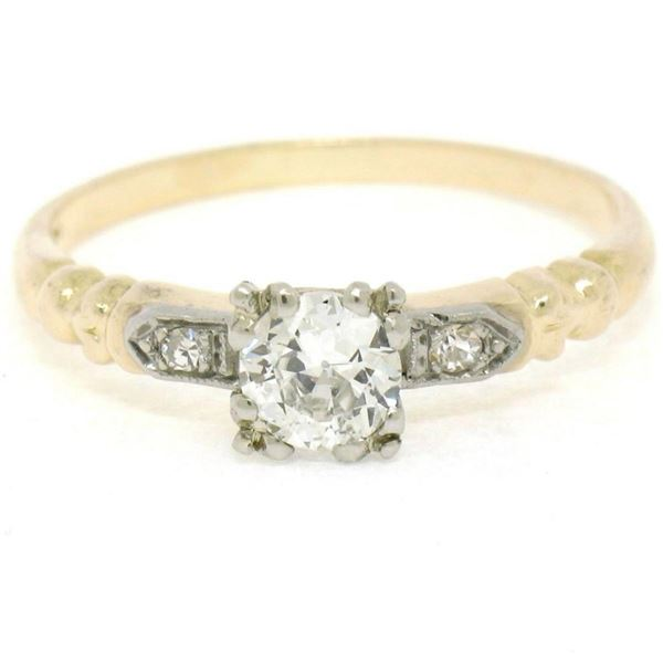 Antique 14K Two Tone Gold 0.54 ctw European Cut Diamond Solitaire Engagement Rin