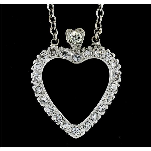 Antique 14k White Gold 1.00 ctw Single Cut Diamond Open Heart Pendant Necklace