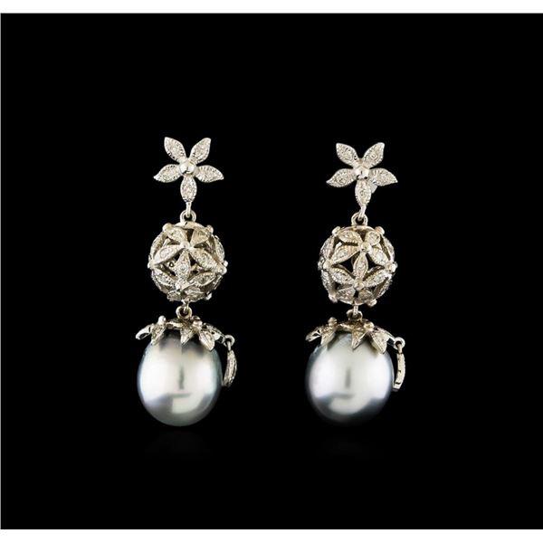 Tahitian Pearl and Diamond Earrings - 14KT White Gold