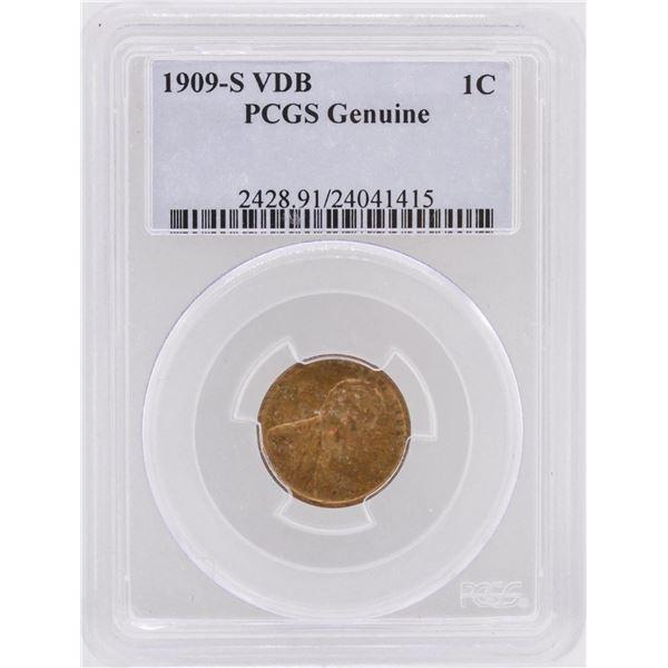 1909-S VDB 1 Penny Genuine Lincoln Head Copper Coin