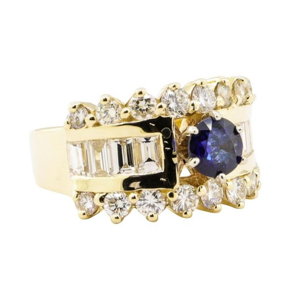 2.88 ctw Blue Sapphire And Diamond Ring - 14KT Yellow Gold