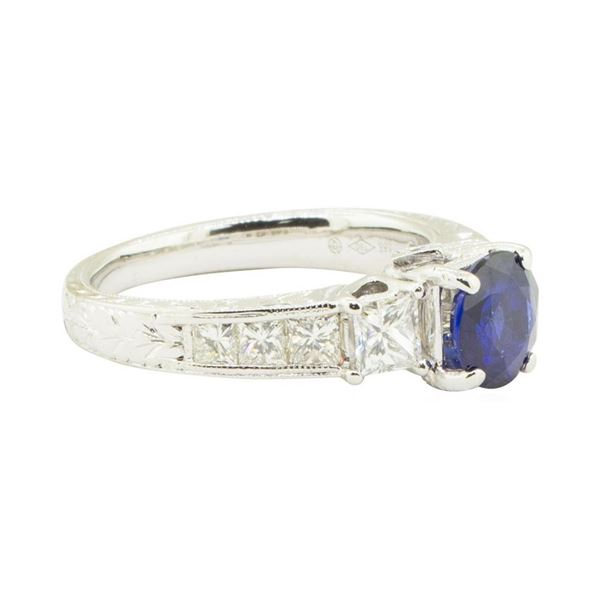 2.38 ctw Round Brilliant Blue Sapphire And Diamond Ring - 18KT White Gold