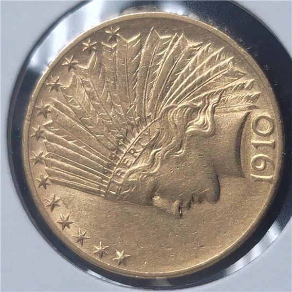 1910-D $10 Indian Head Gold Eagle Coin