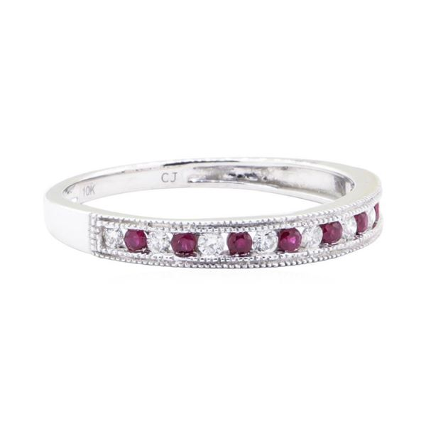 0.20 ctw Ruby and Diamond Straight-Line Double Milgrain Band - 10KT White Gold