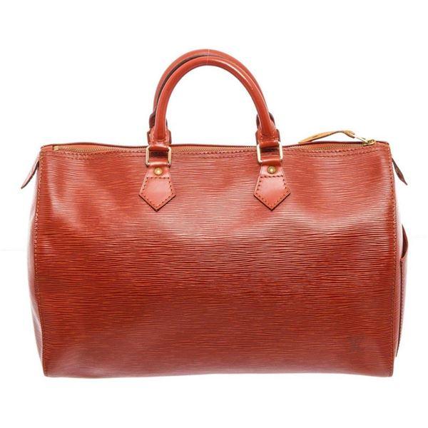 Louis Vuitton Orange Speedy 35 Satchel Bag