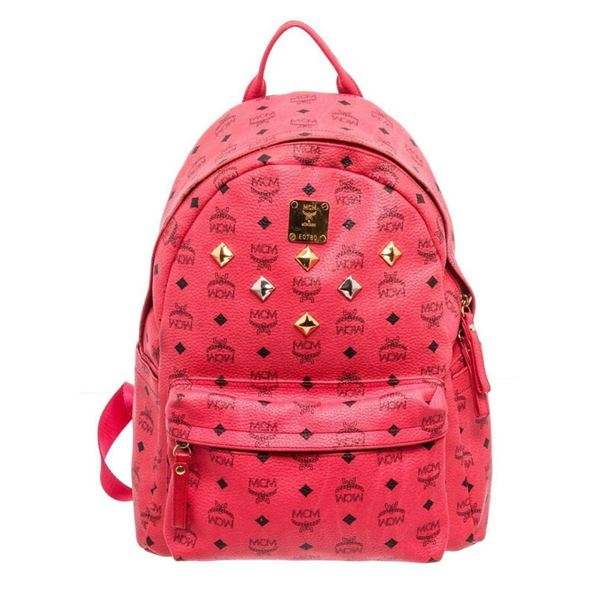 MCM Pink Canvas Stud Backpack